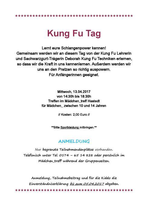 Kung Fu Tag Aushang groß