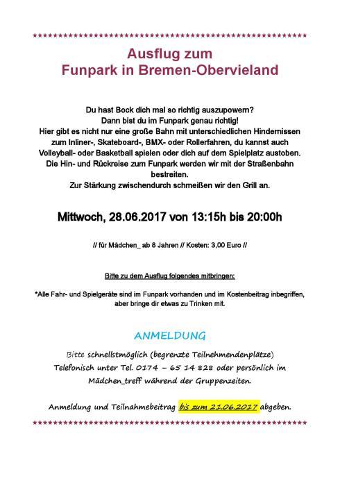 Aushang Funpark Obervieland